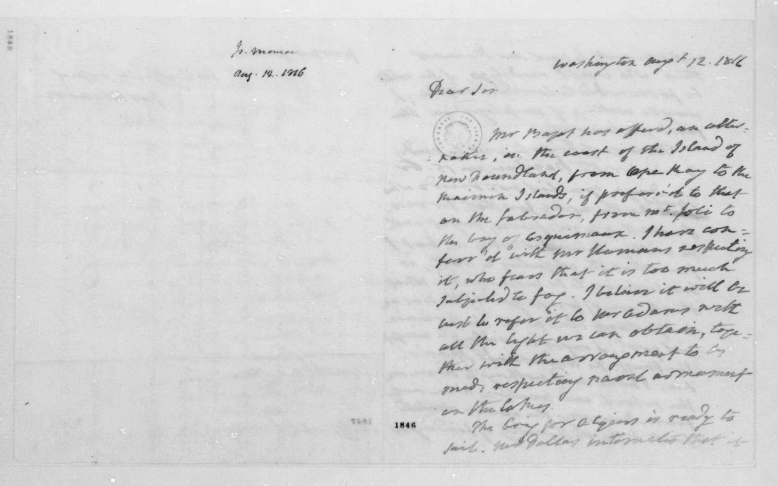 James Monroe to James Madison, August 12, 1816.