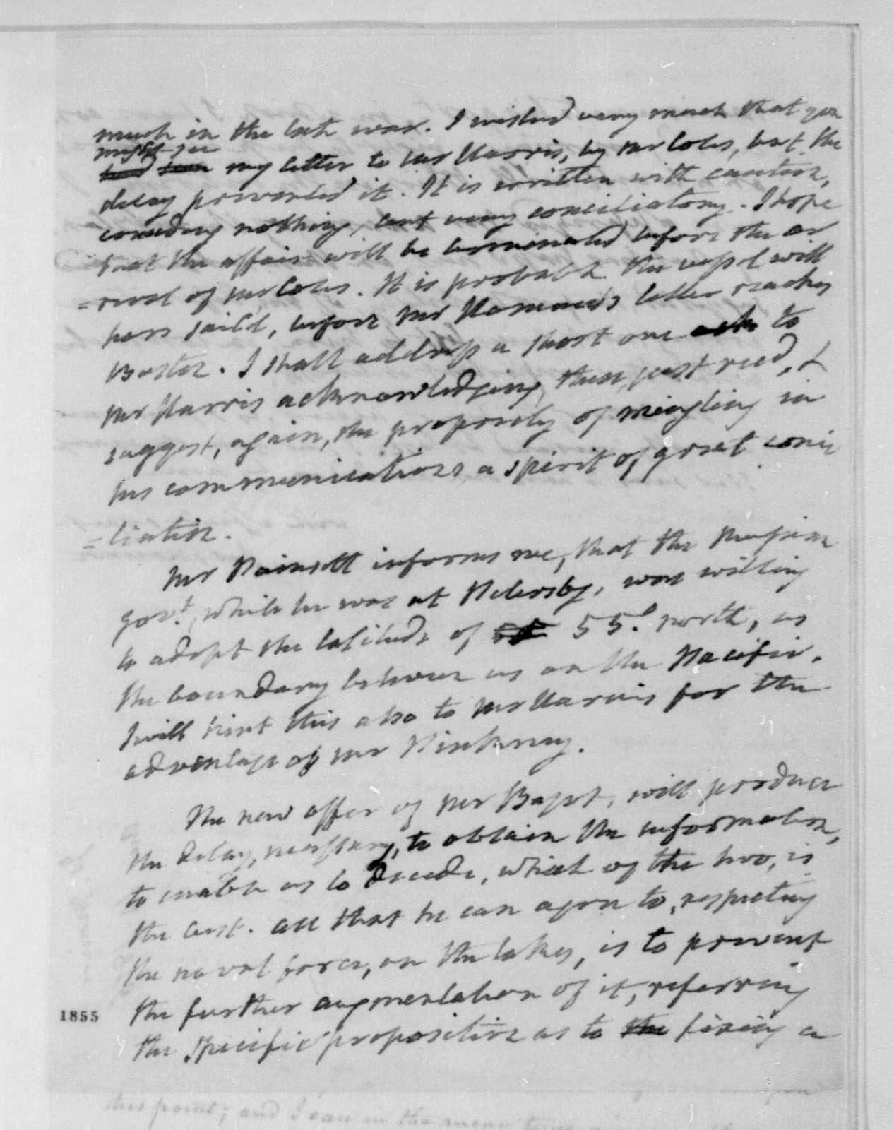 James Monroe to James Madison, August 14, 1816.