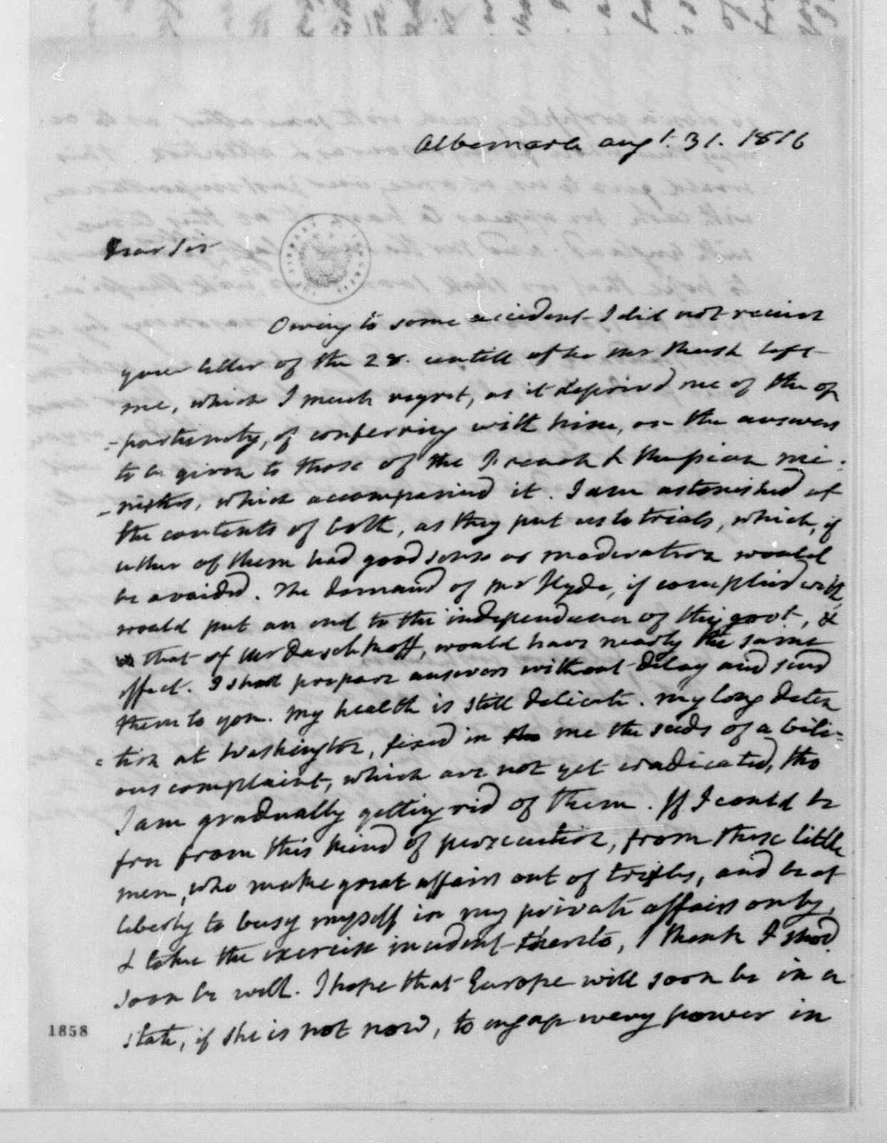 James Monroe to James Madison, August 31, 1816.