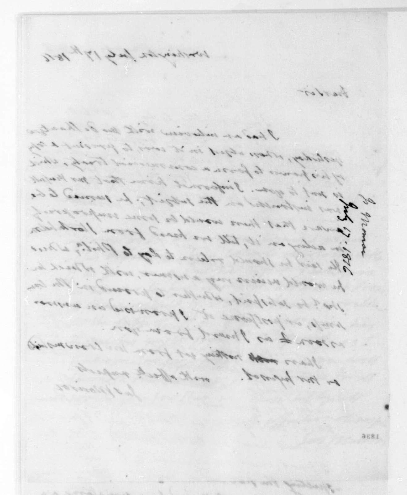 James Monroe to James Madison, July 17, 1816.