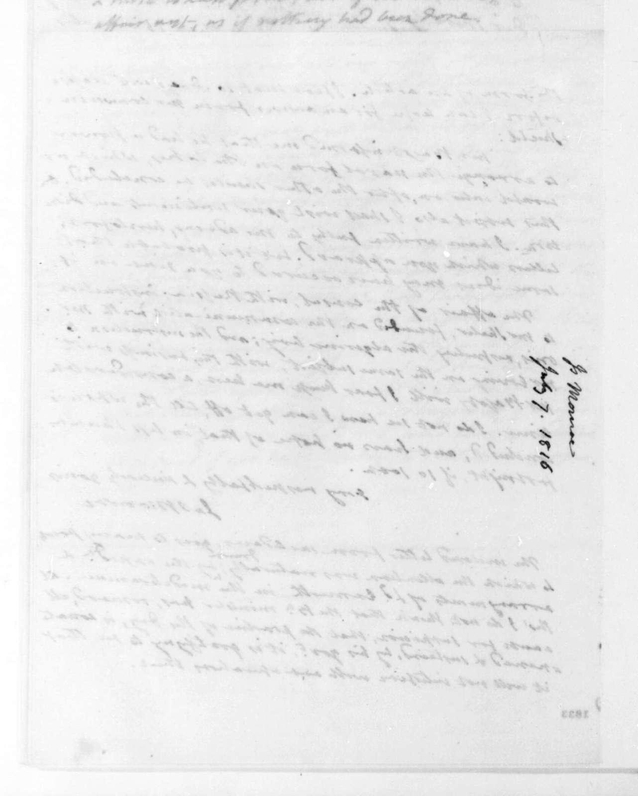 James Monroe to James Madison, July 7, 1816.
