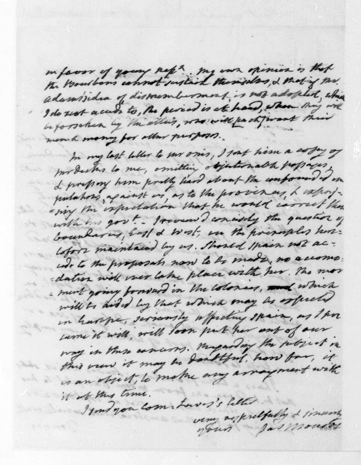 James Monroe to James Madison, June 21, 1816.
