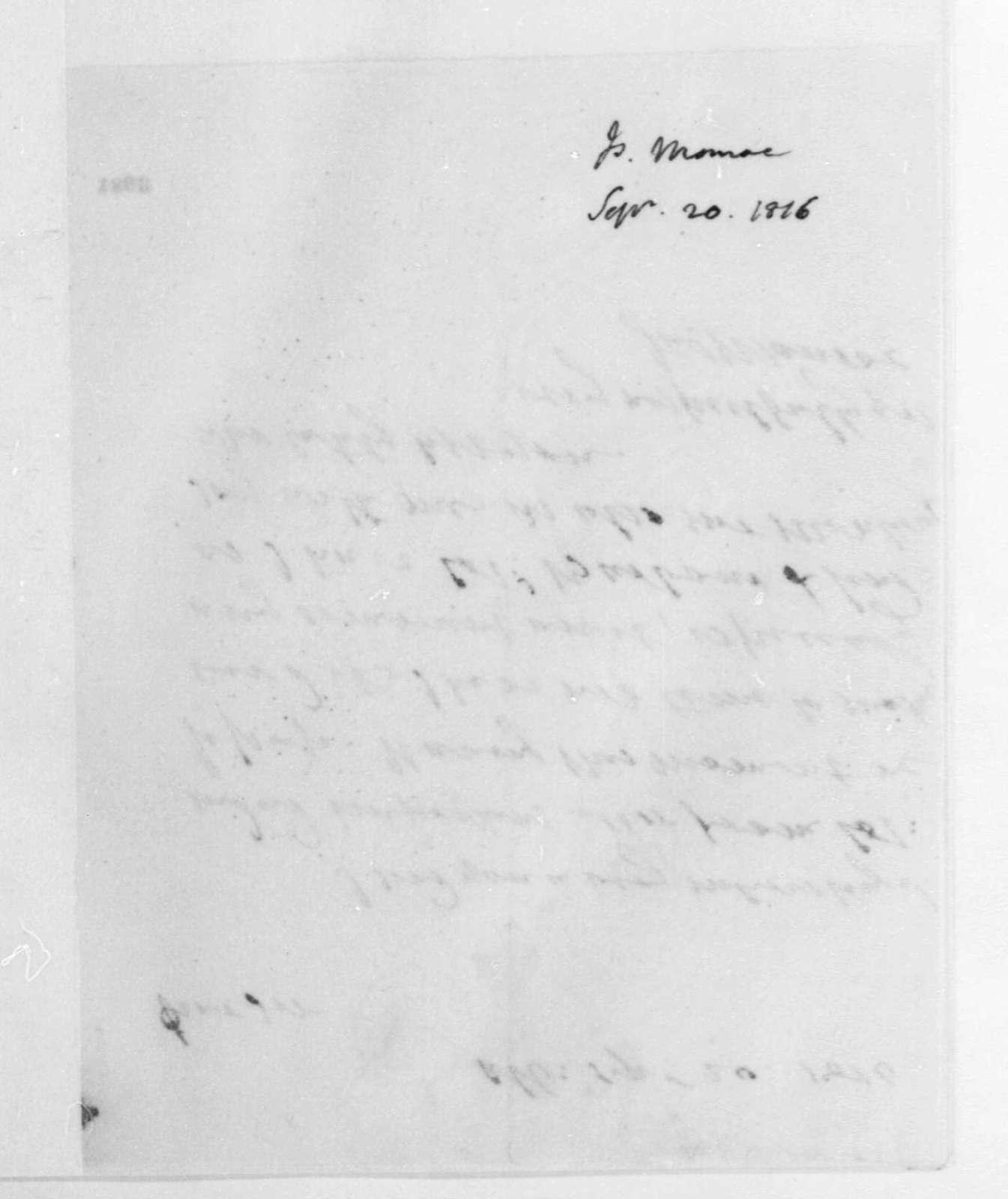 James Monroe to James Madison, September 20, 1816.