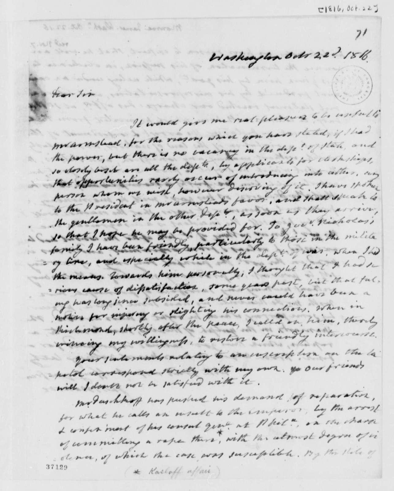 James Monroe to Thomas Jefferson, October 22, 1816