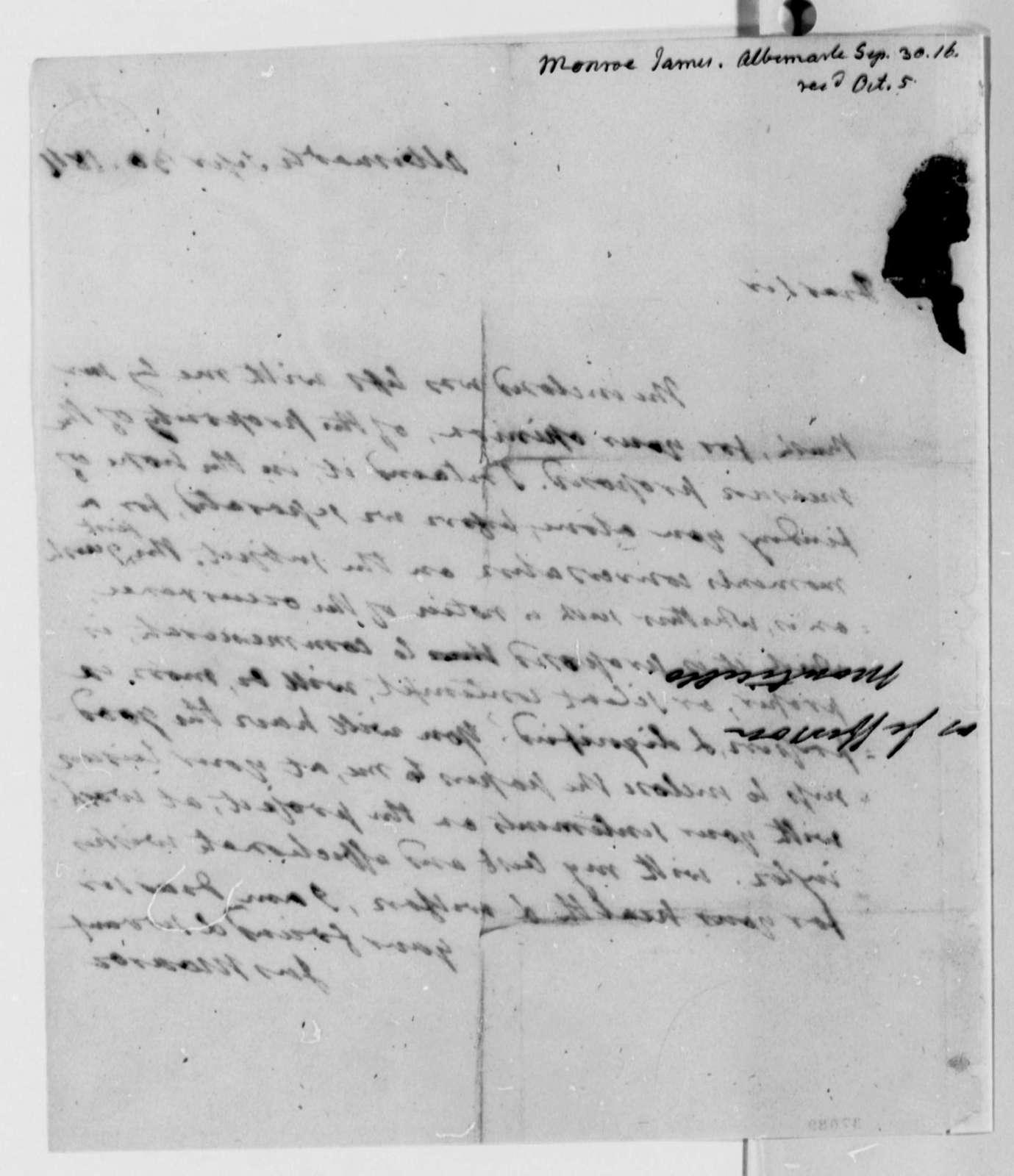 James Monroe to Thomas Jefferson, September 30, 1816