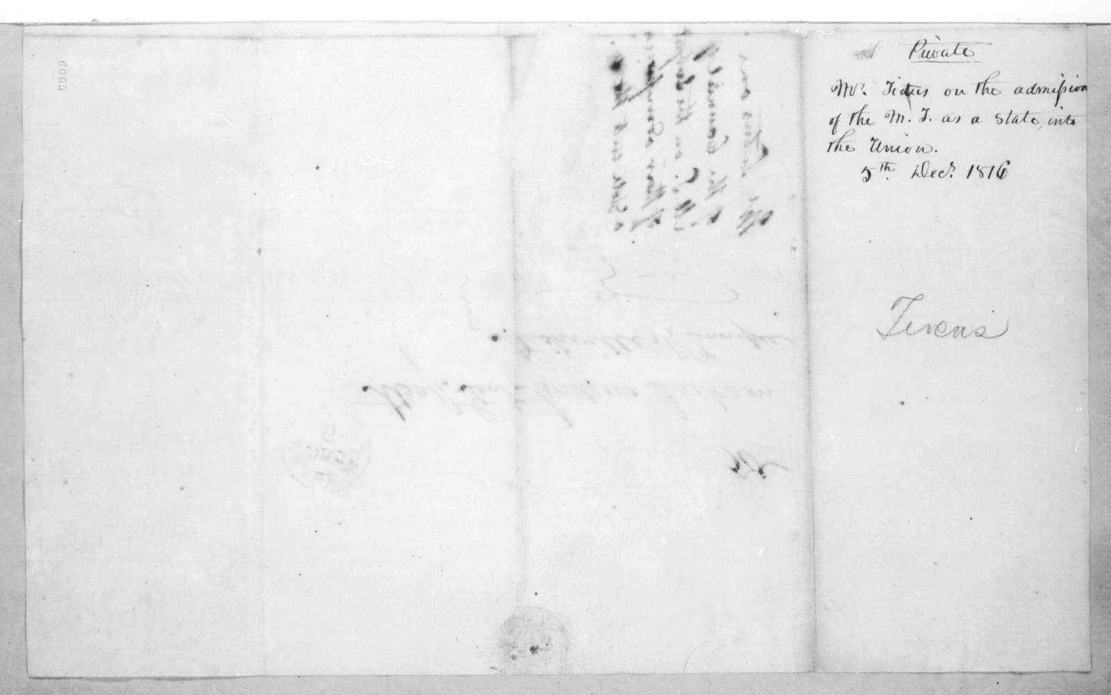 James Titus to Andrew Jackson, December 5, 1816