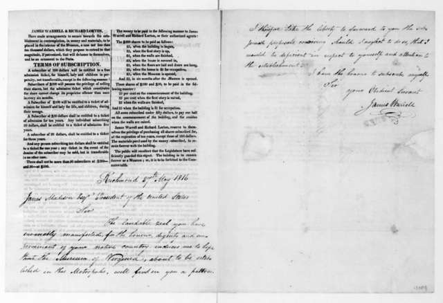 James Warrell to James Madison, May 27, 1816. Printed proposal for the establishment of a museum.