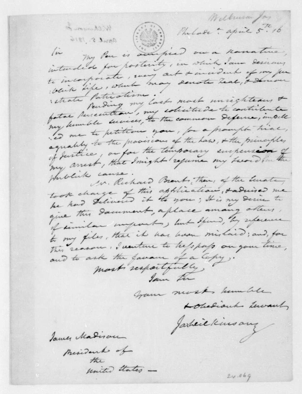 James Wilkinson to James Madison, April 5, 1816.