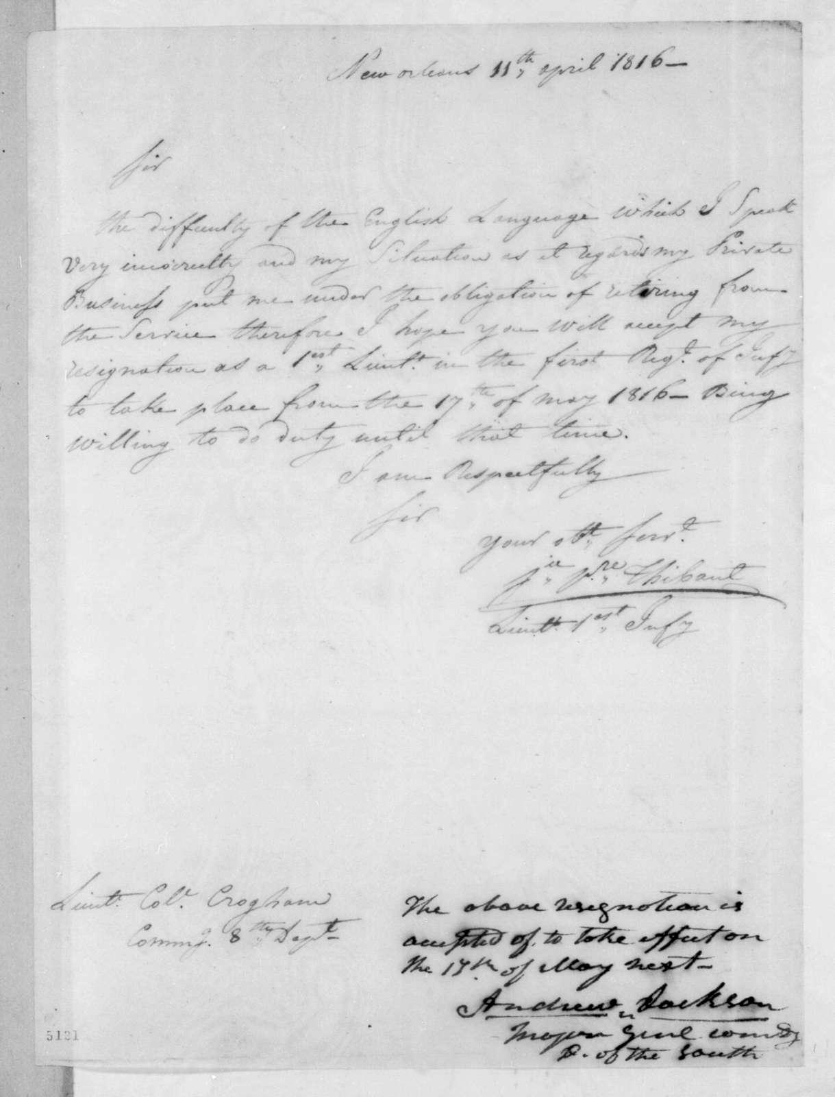 Jean Pierre Thibault to George Croghan, April 11, 1816