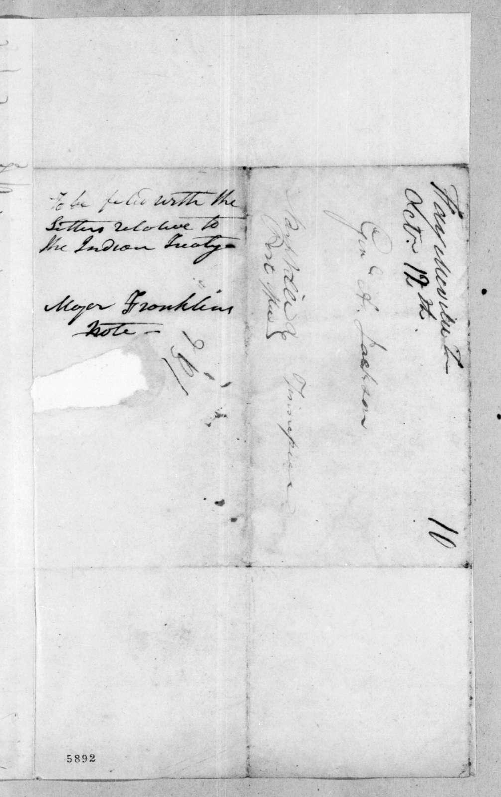 [Jesse Franklin] to Andrew Jackson, October 12, 1816