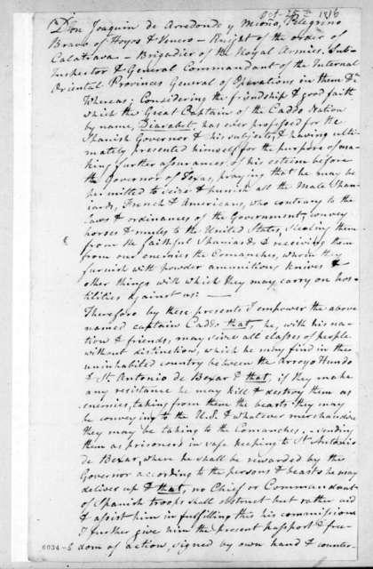 Joaquin de Arredondo, October 25, 1816