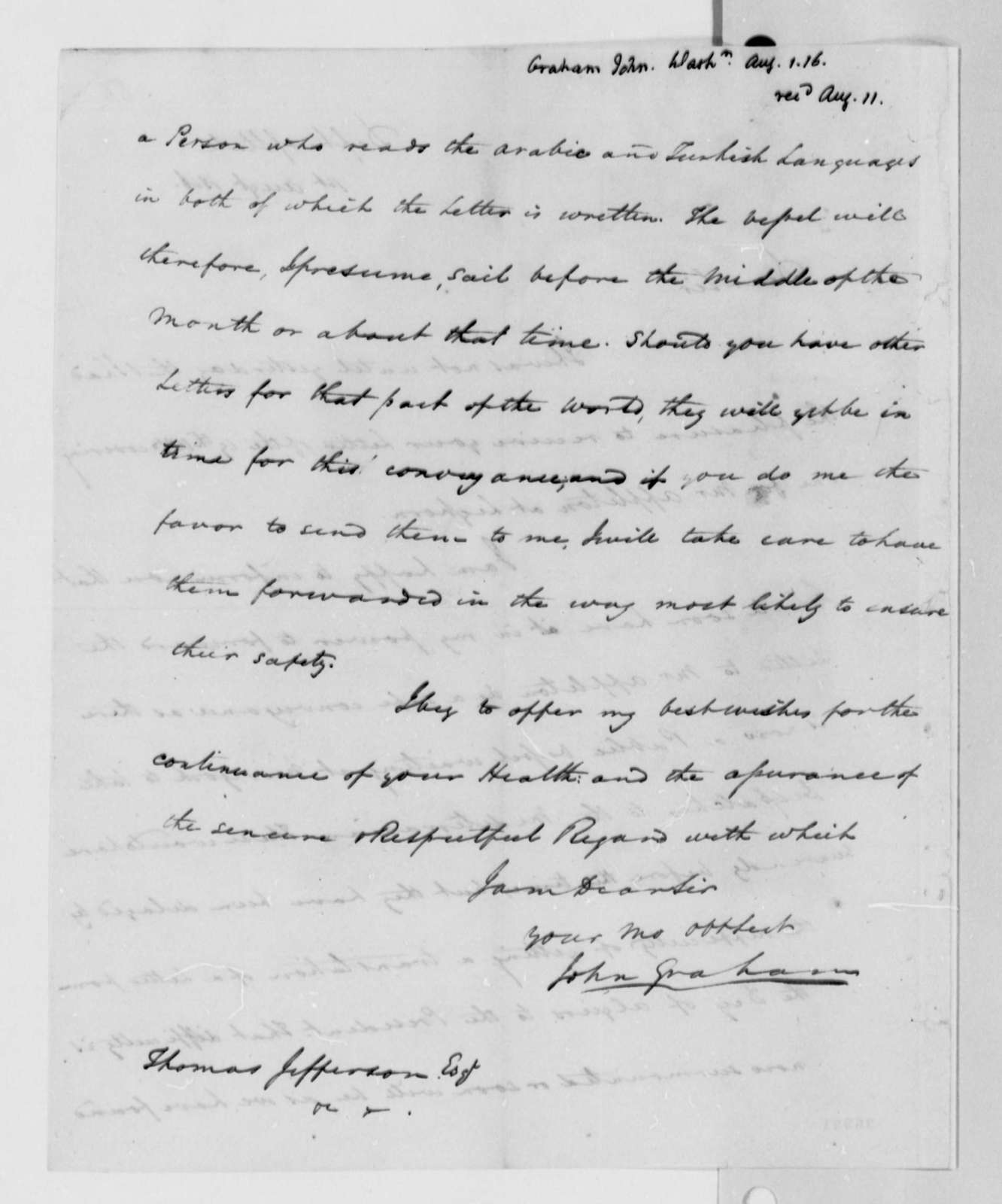 John A. Graham to Thomas Jefferson, August 1, 1816