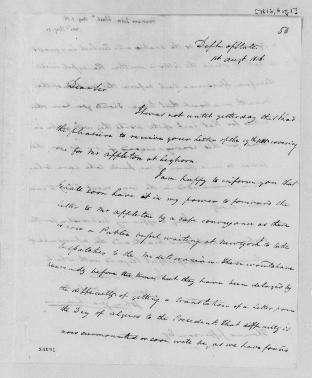 John A. Graham to Thomas Jefferson, August 1, 1816