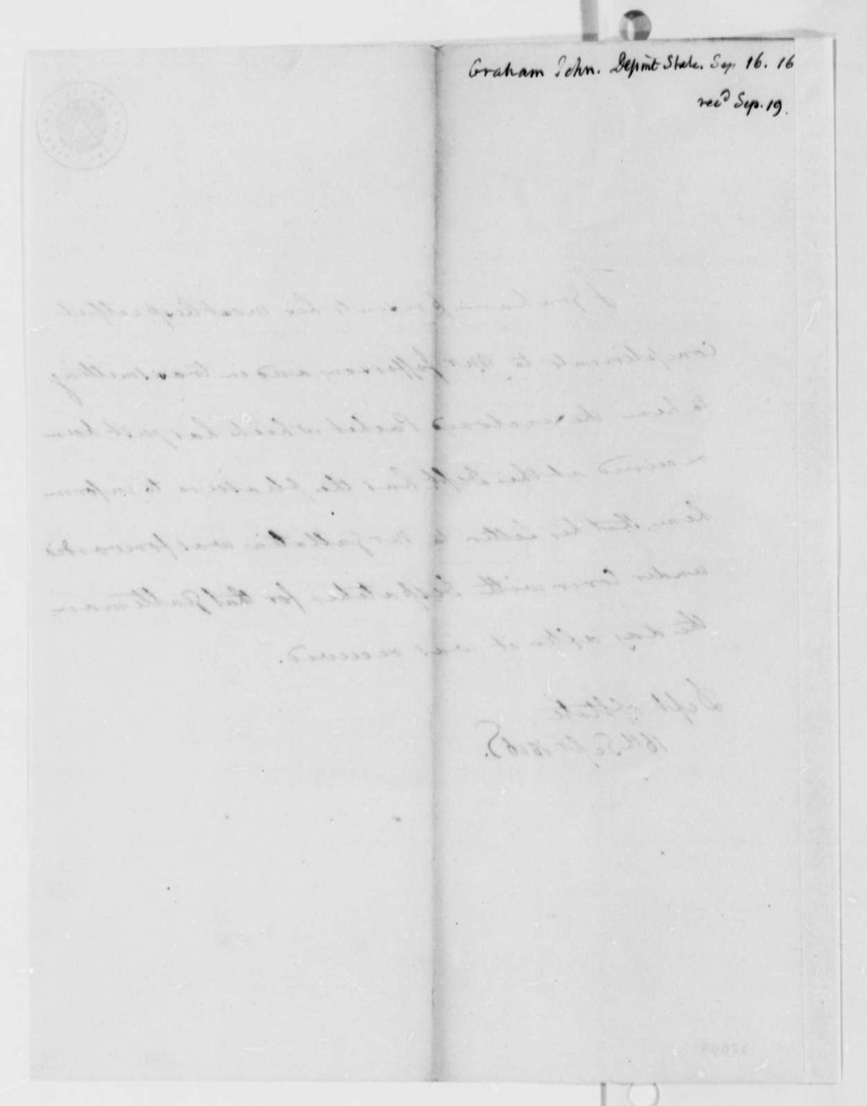 John A. Graham to Thomas Jefferson, September 16, 1816
