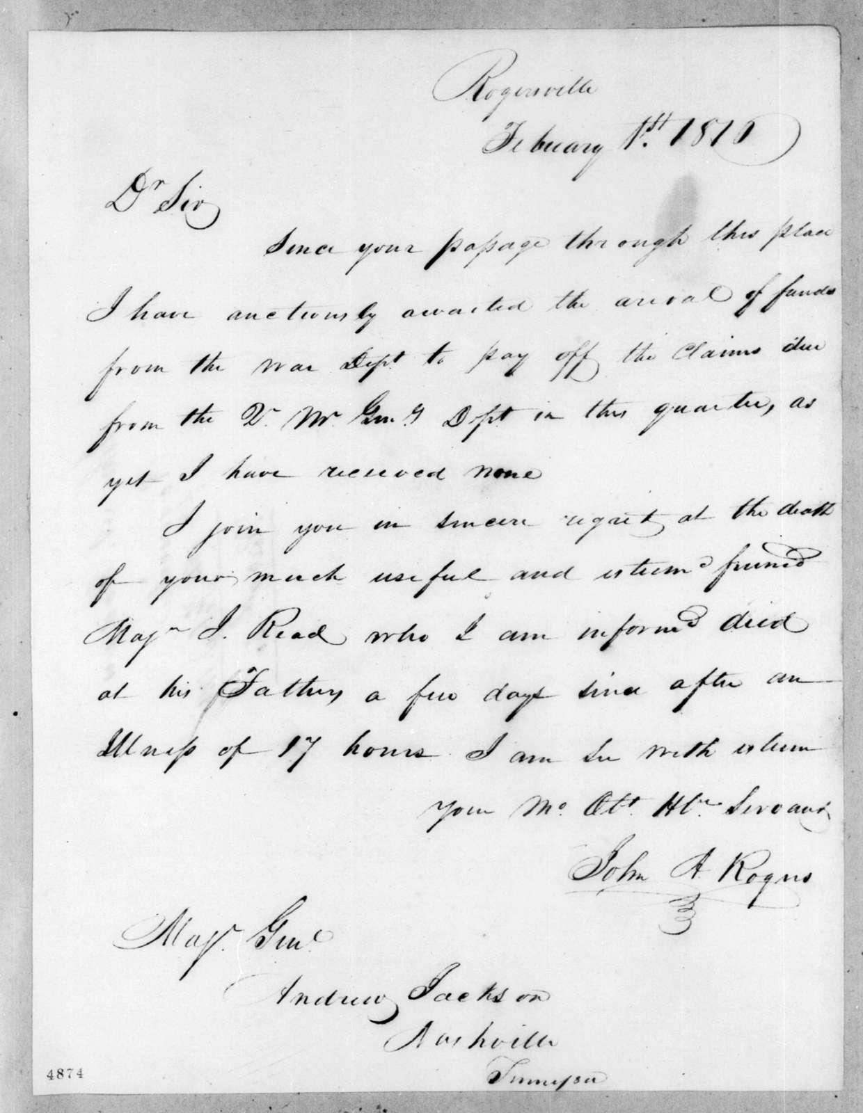 John A. Rogers to Andrew Jackson, February 1, 1816
