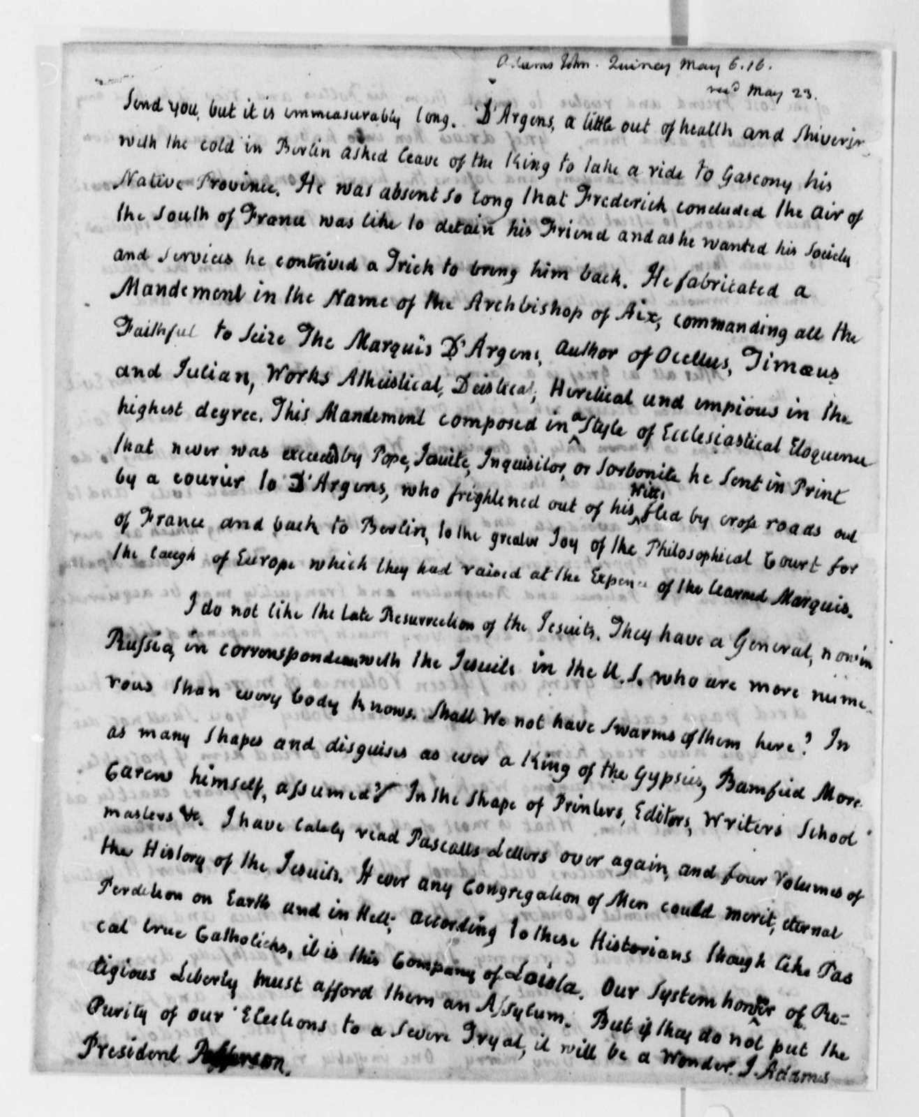John Adams to Thomas Jefferson, May 6, 1816
