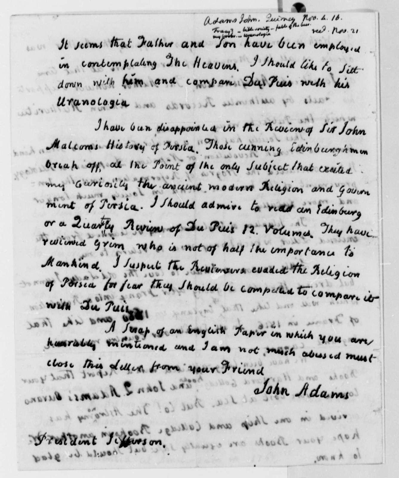 John Adams to Thomas Jefferson, November 4, 1816