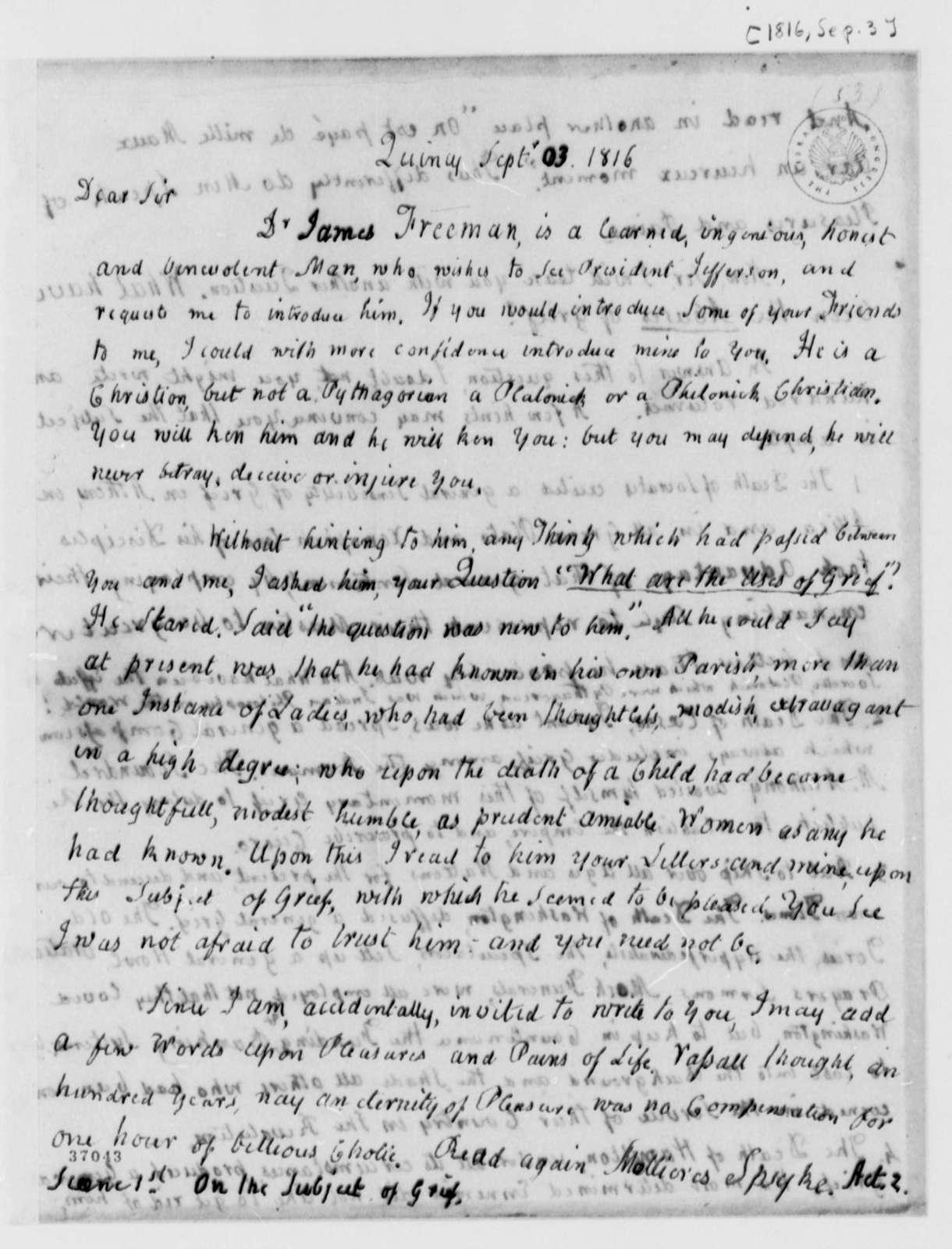 John Adams to Thomas Jefferson, September 3, 1816