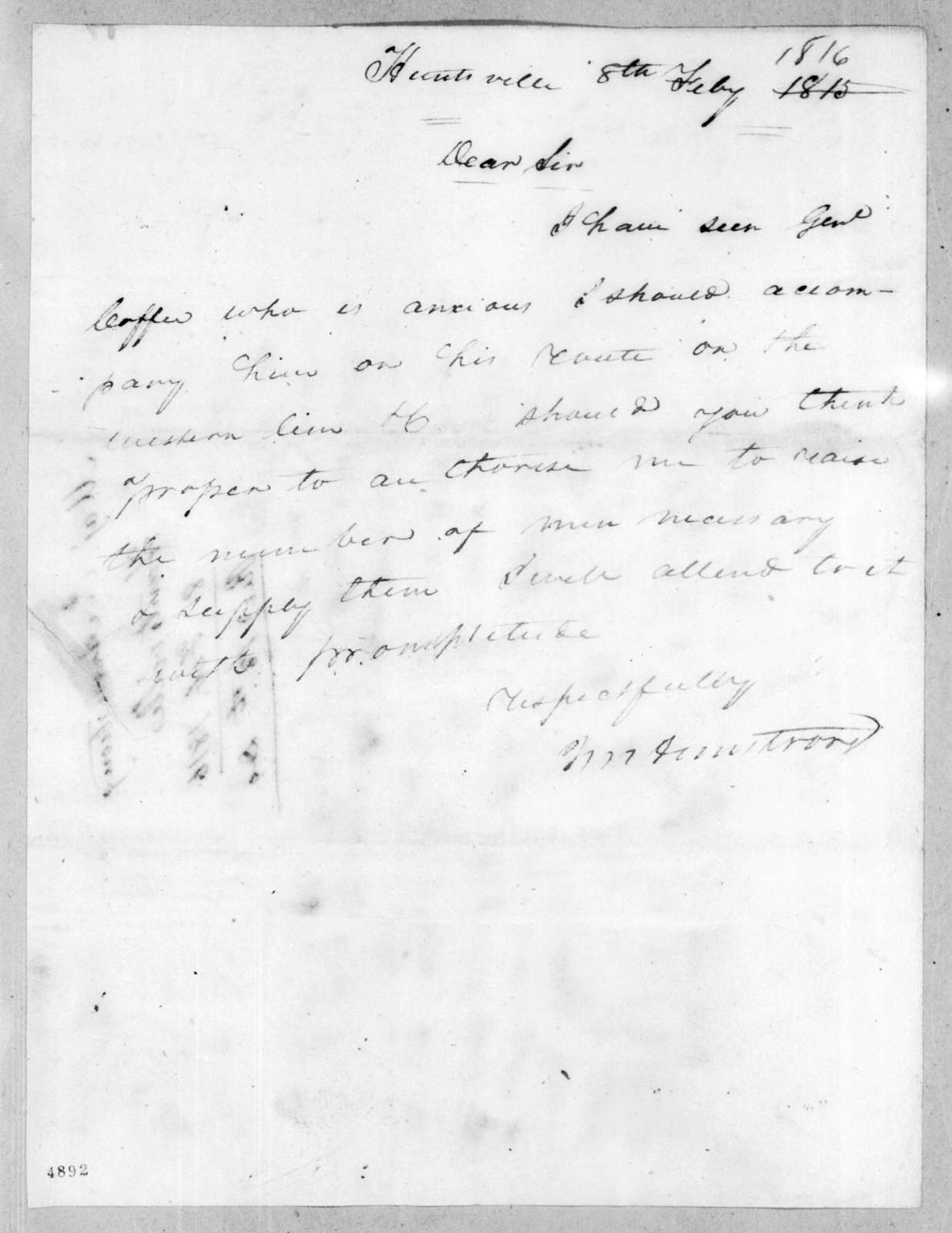 John Armstrong to Unknown, February 8, 1816