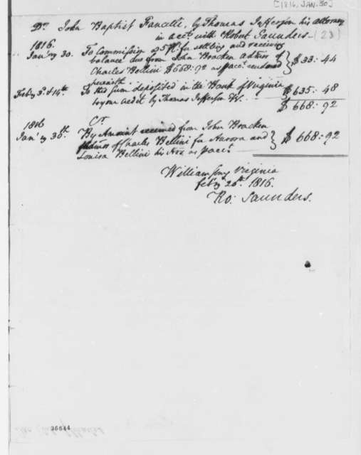 John Bracken, January 30, 1816, Bellini Account