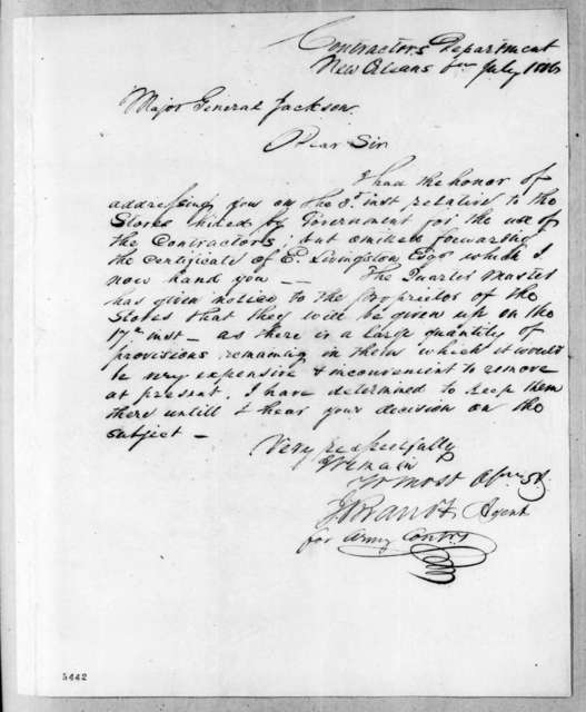 John Brandt to Andrew Jackson, July 6, 1816