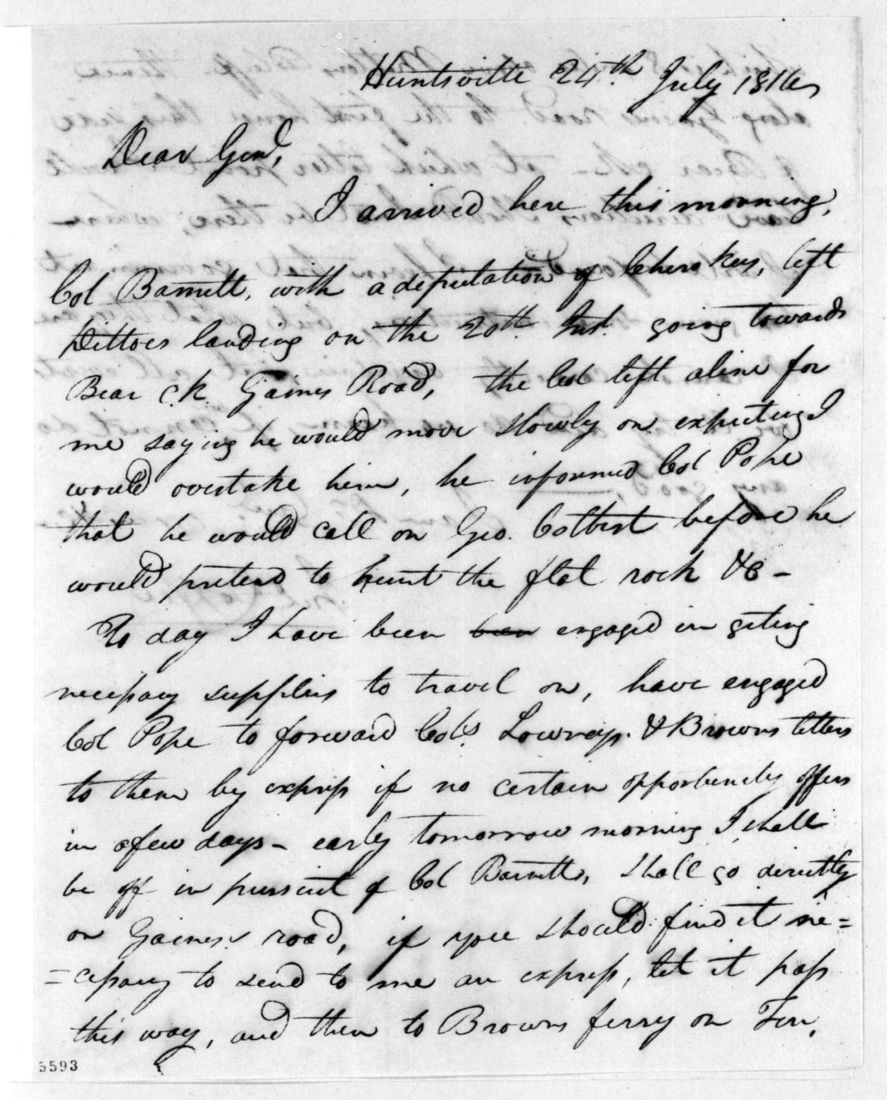 John Coffee to Andrew Jackson, July 24, 1816