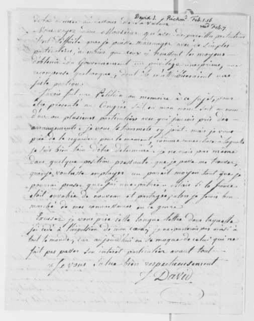 John David to Thomas Jefferson, February 1, 1816, in French with Petition