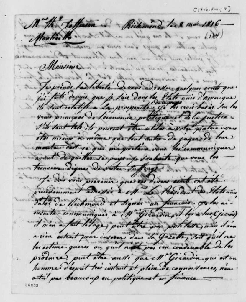 John David to Thomas Jefferson, May 8, 1816, in French, with Statements