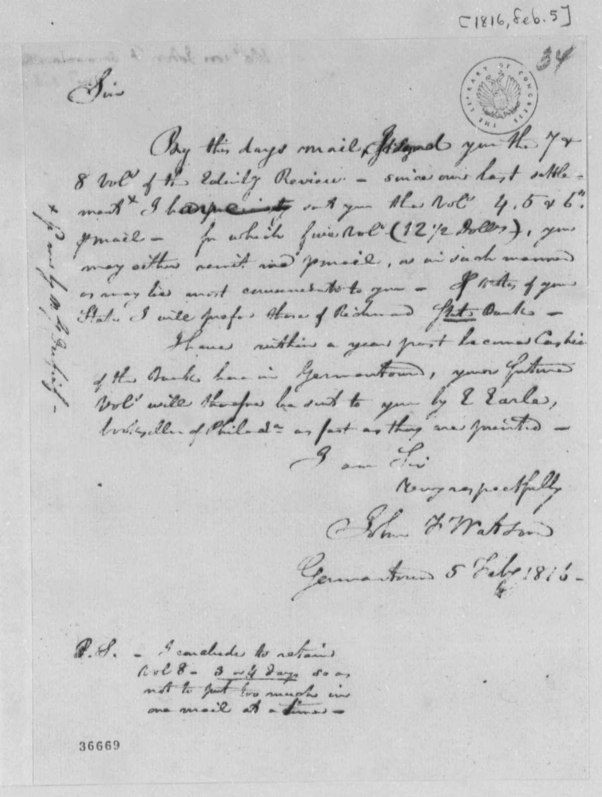 John F. Watson to Thomas Jefferson, February 5, 1816