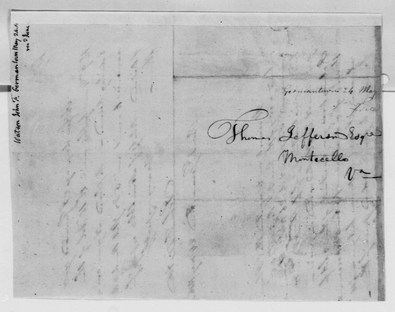John F. Watson to Thomas Jefferson, May 24, 1816