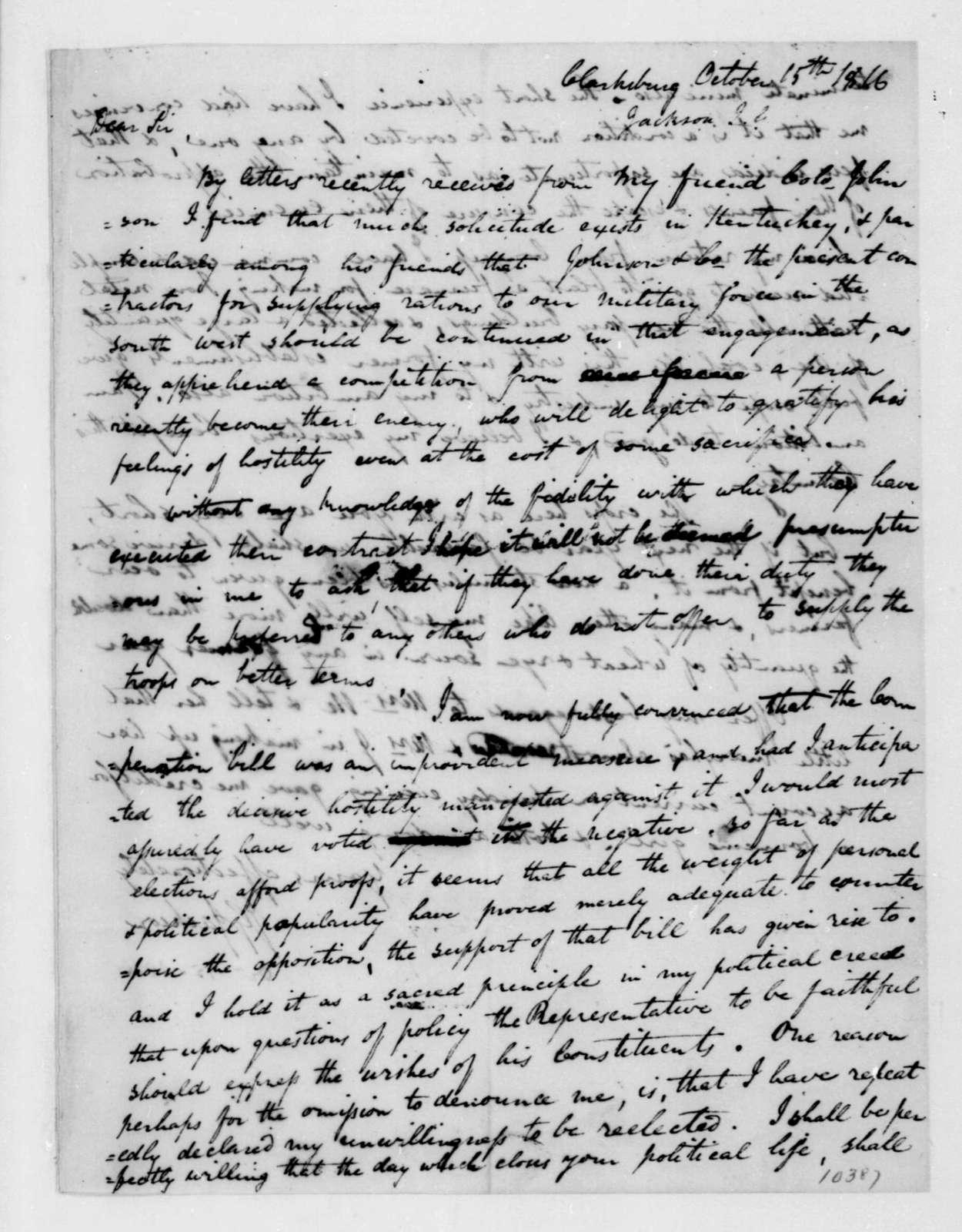 John G. Jackson to James Madison, October 15, 1816.