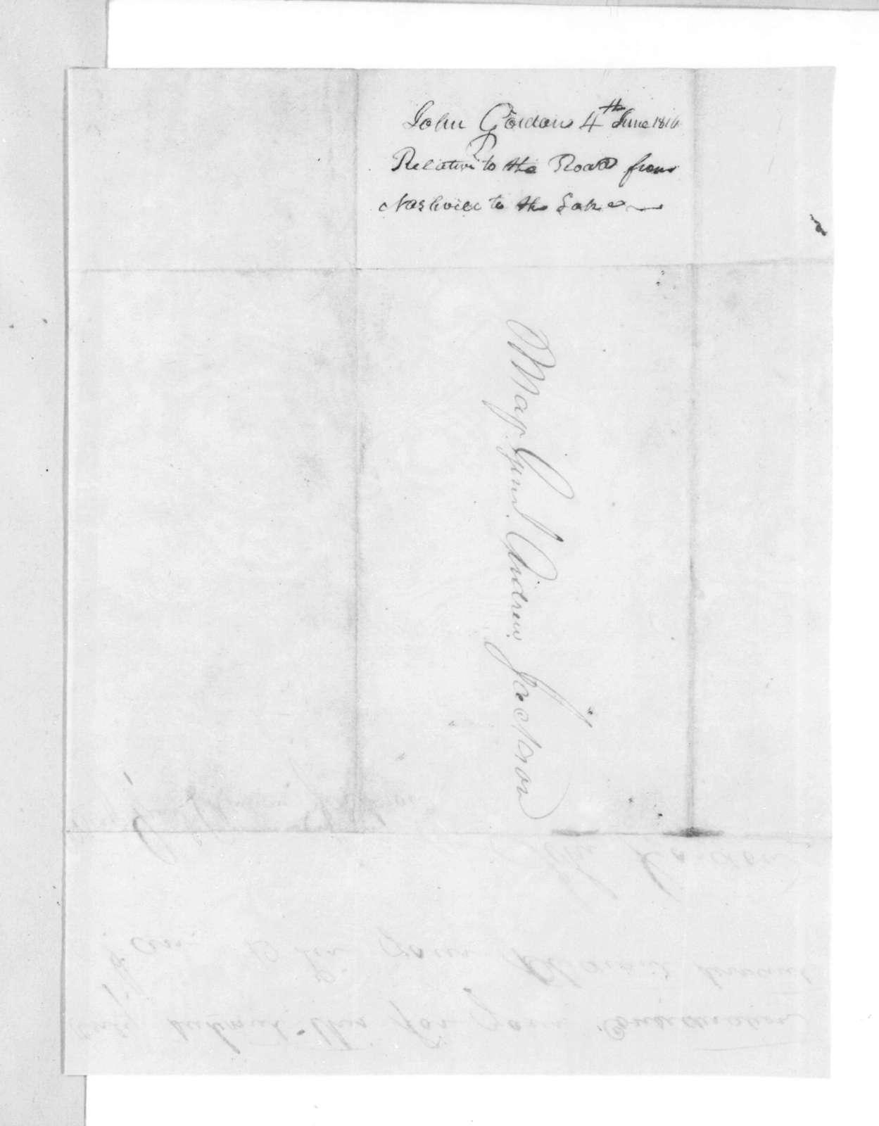John Gordon to Andrew Jackson, June 4, 1816