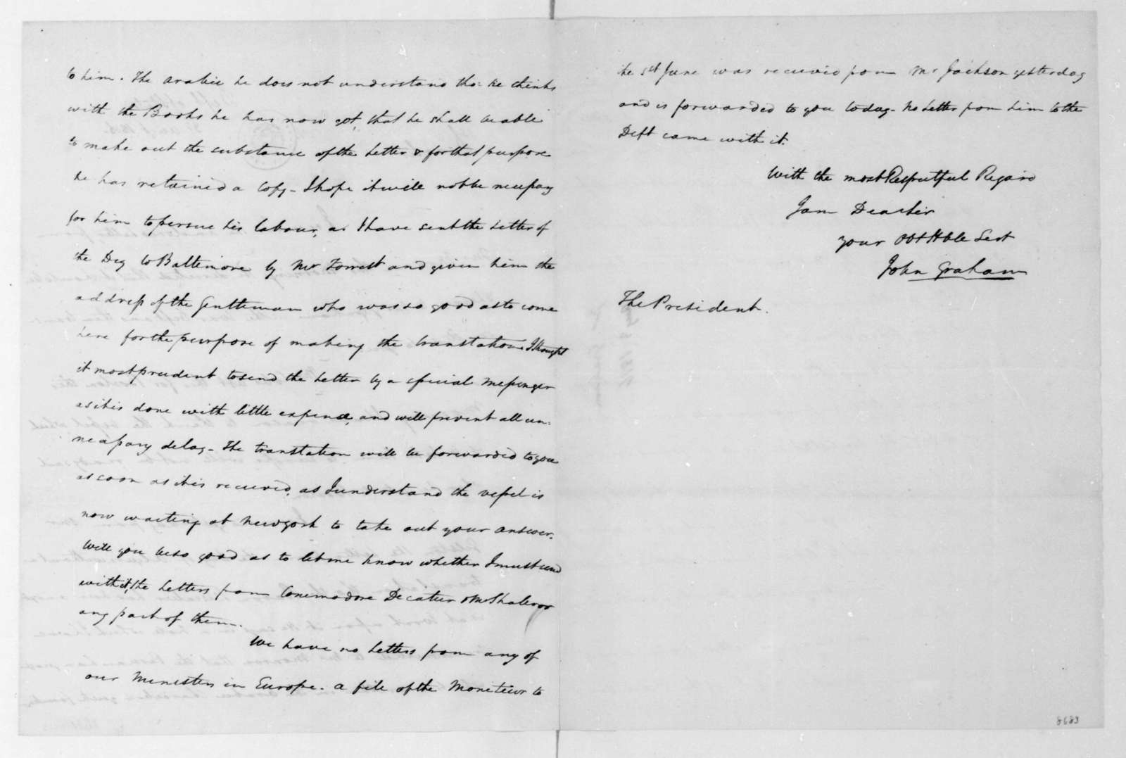 John Graham to James Madison, August 3, 1816.