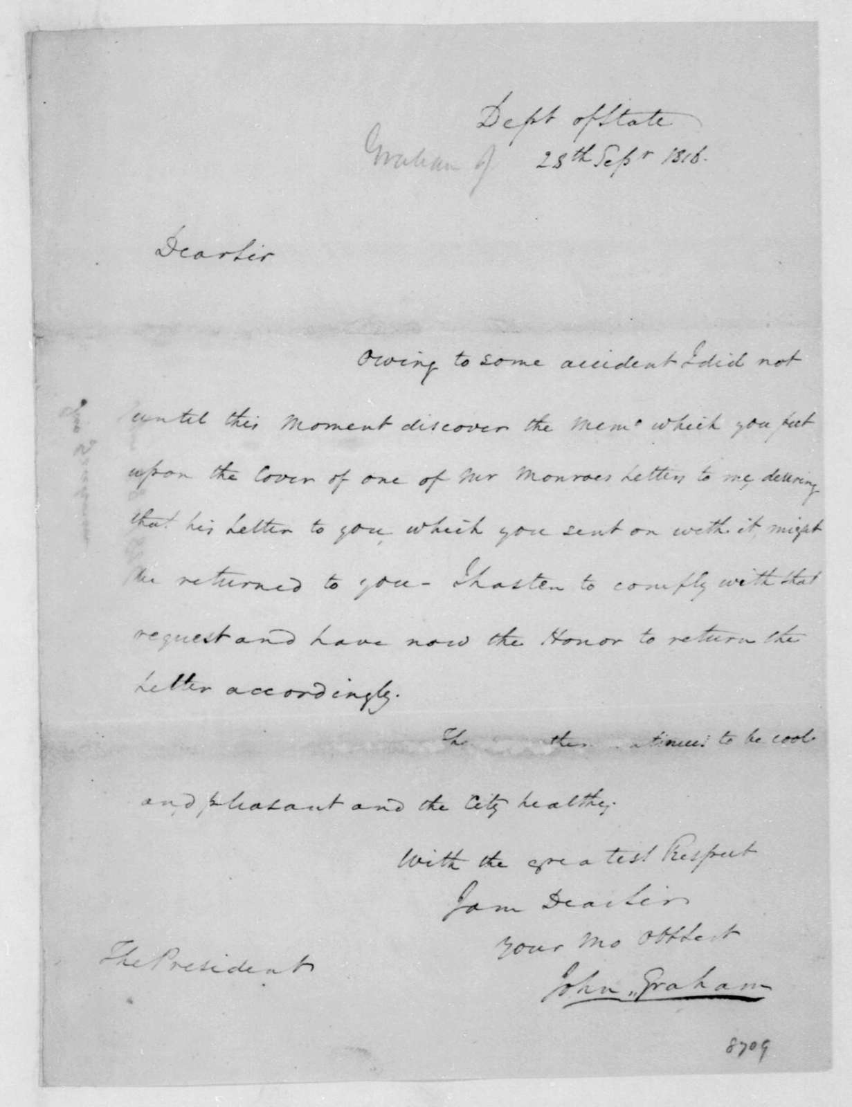 John Graham to James Madison, September 28, 1816.