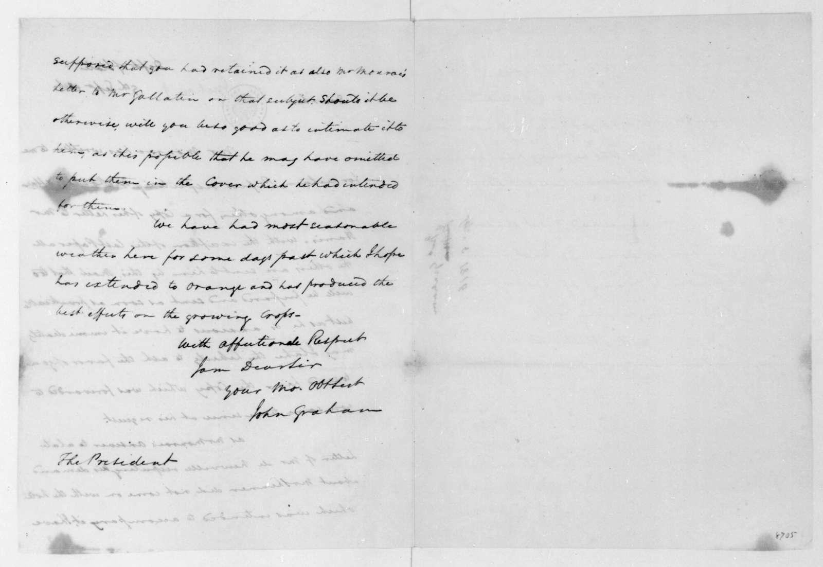 John Graham to James Madison, September 9, 1816.