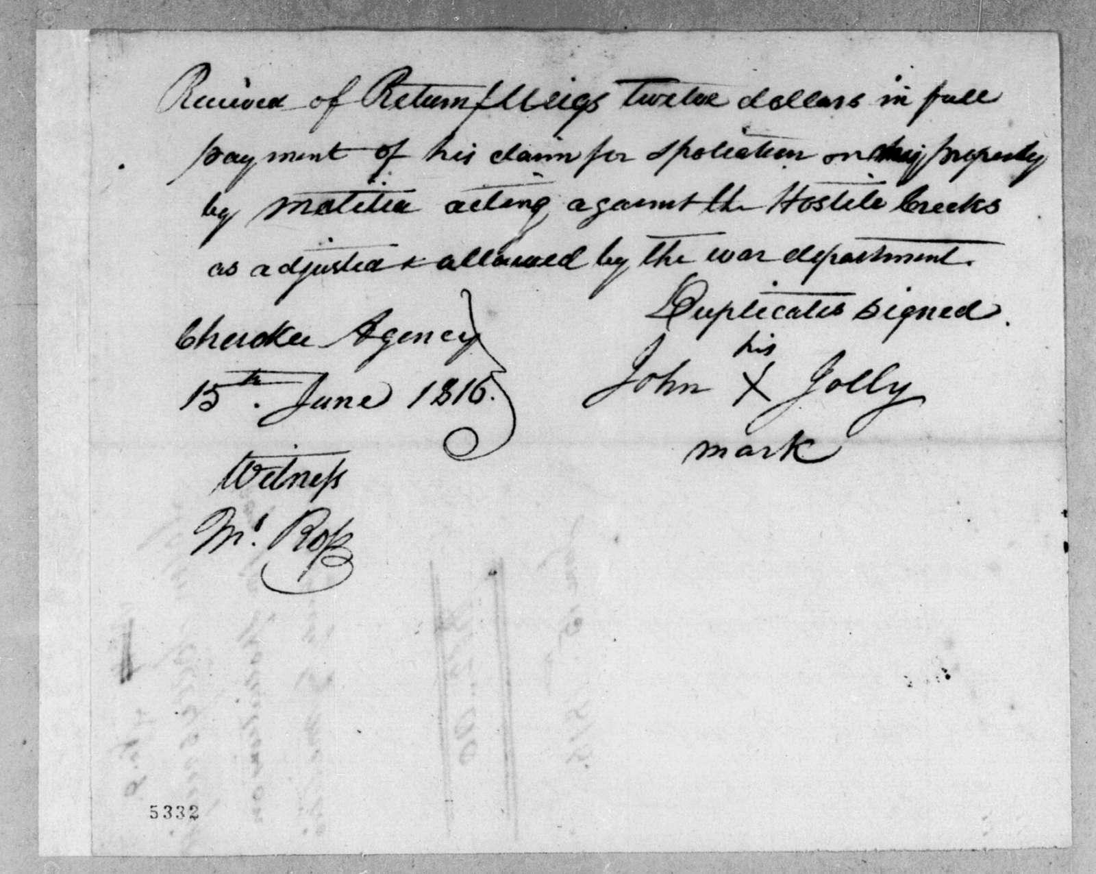 John Jolly to Return Jonathan Meigs, June 15, 1816