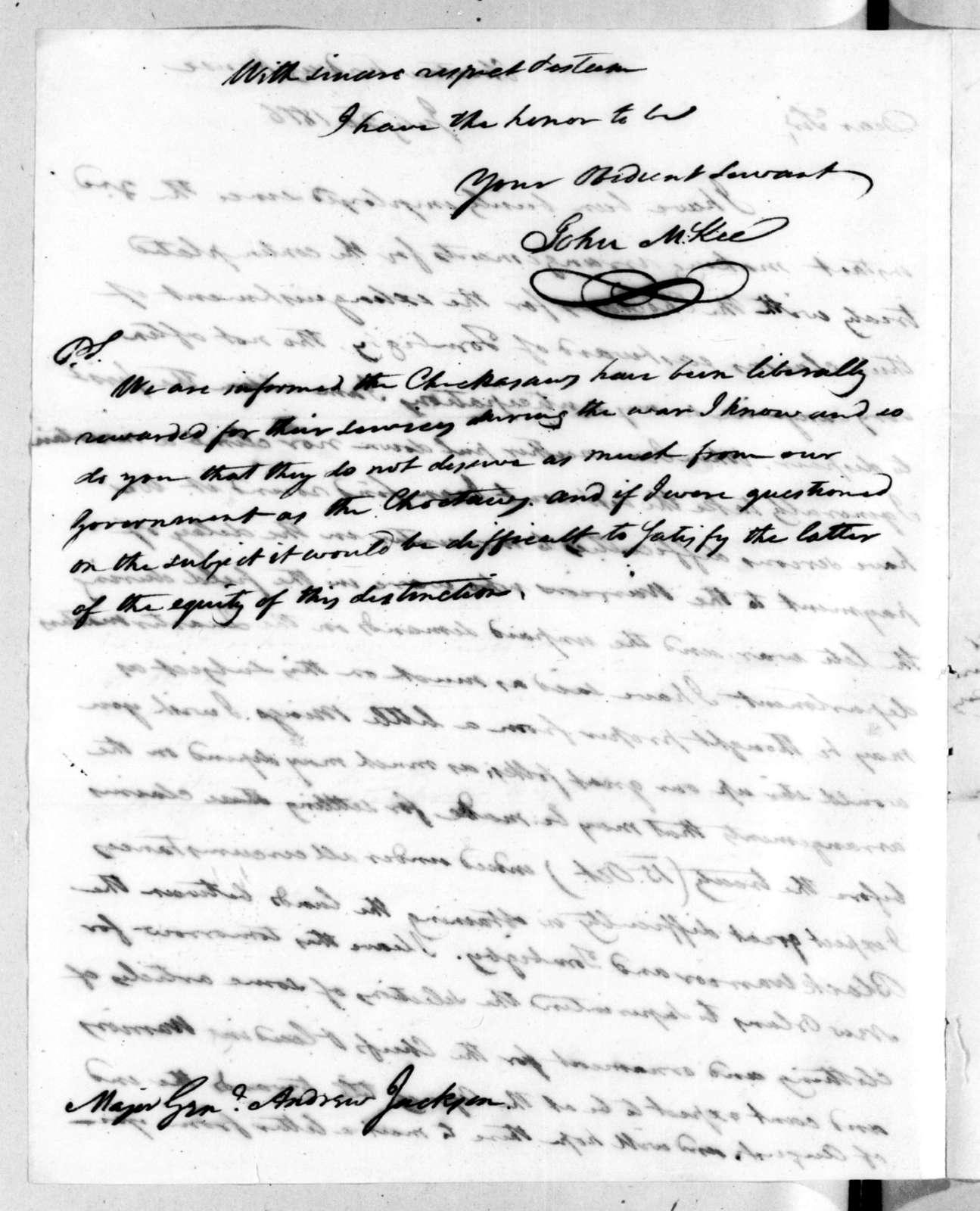John McKee to Andrew Jackson, July 20, 1816