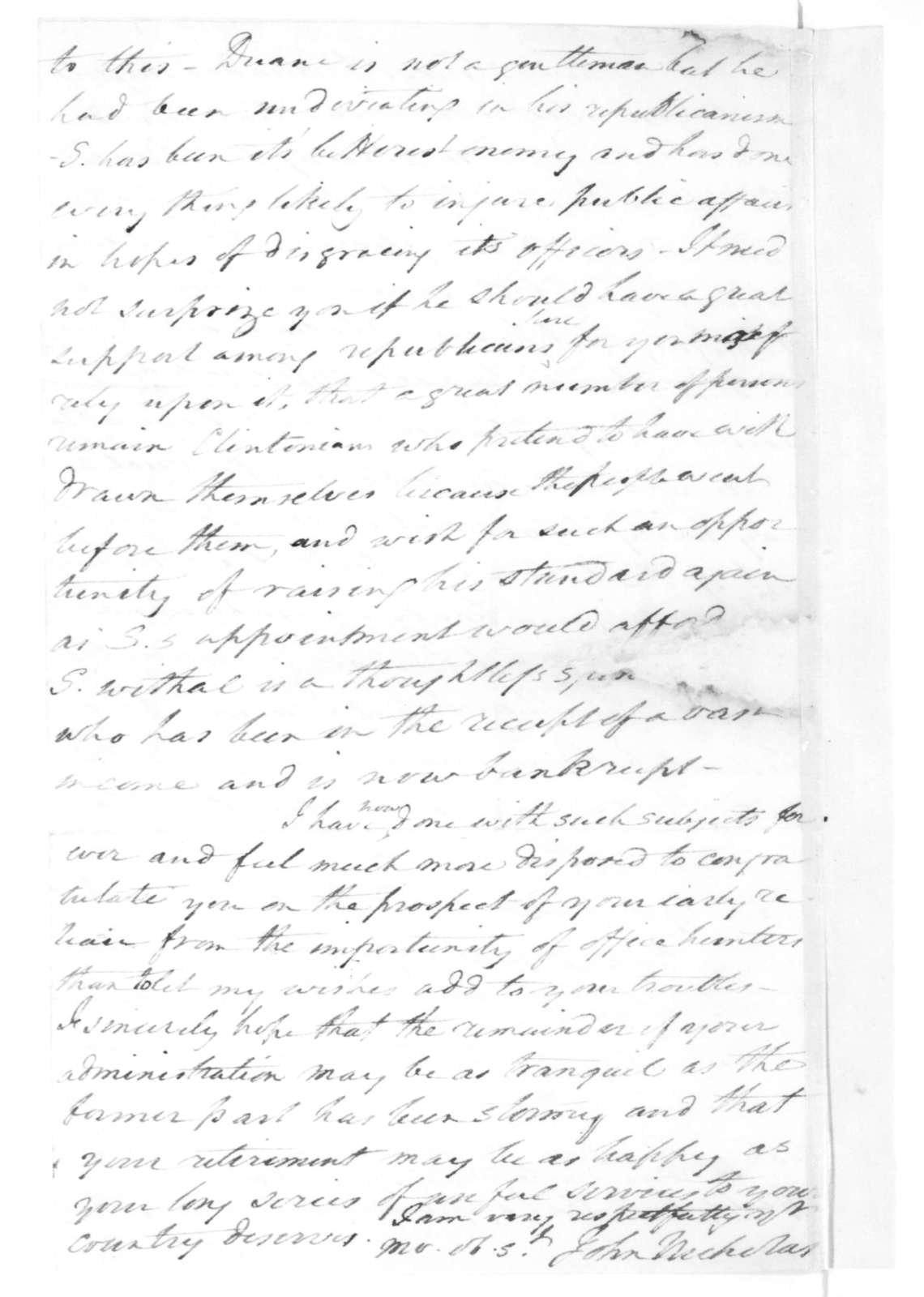 John Nicholas to James Madison, February 28, 1816.
