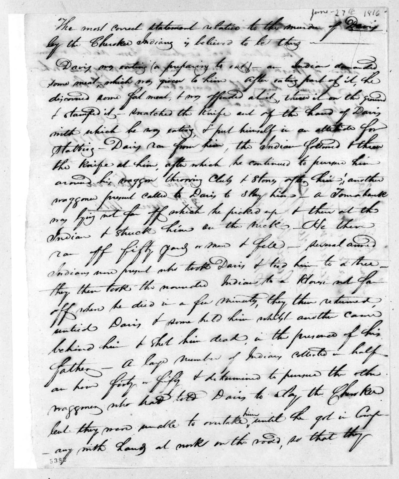 John Patton Erwin, June 27, 1816