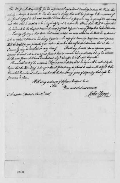 John Prout to Thomas Jefferson, November 17, 1816, Memoire