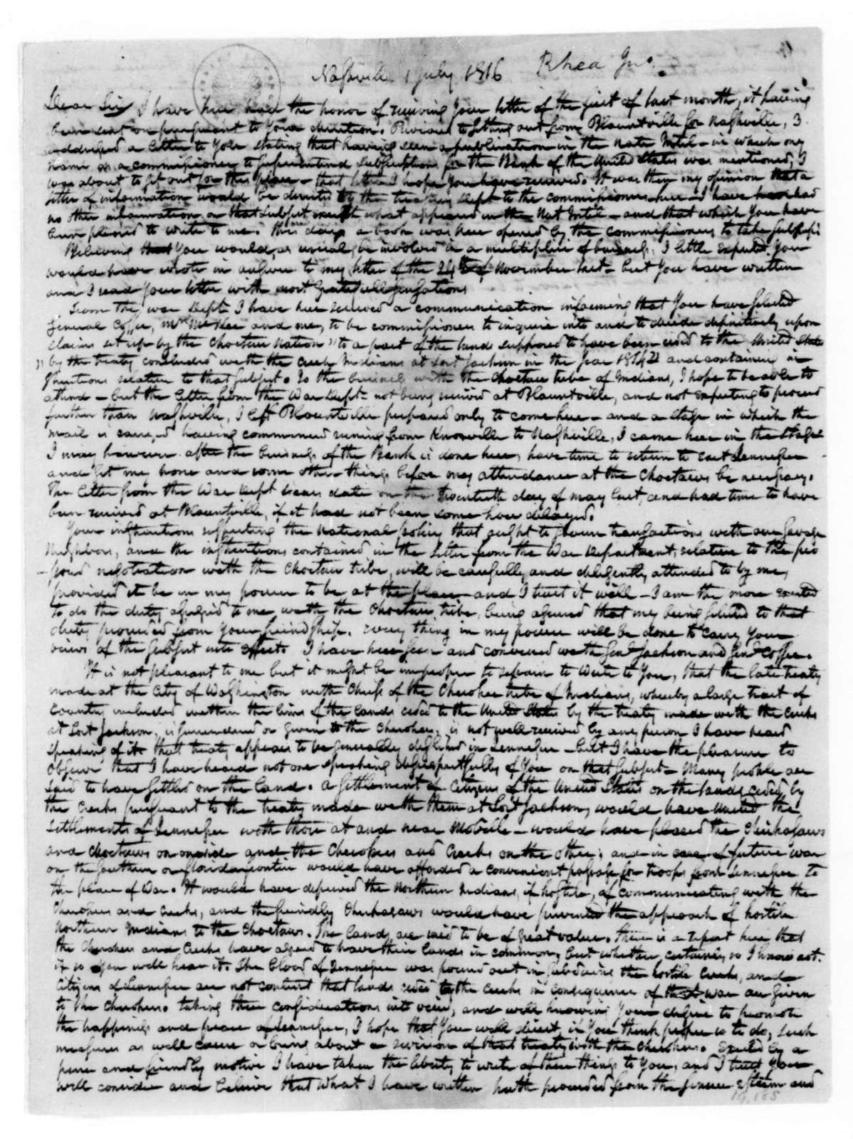John Rhea to James Madison, July 1, 1816.