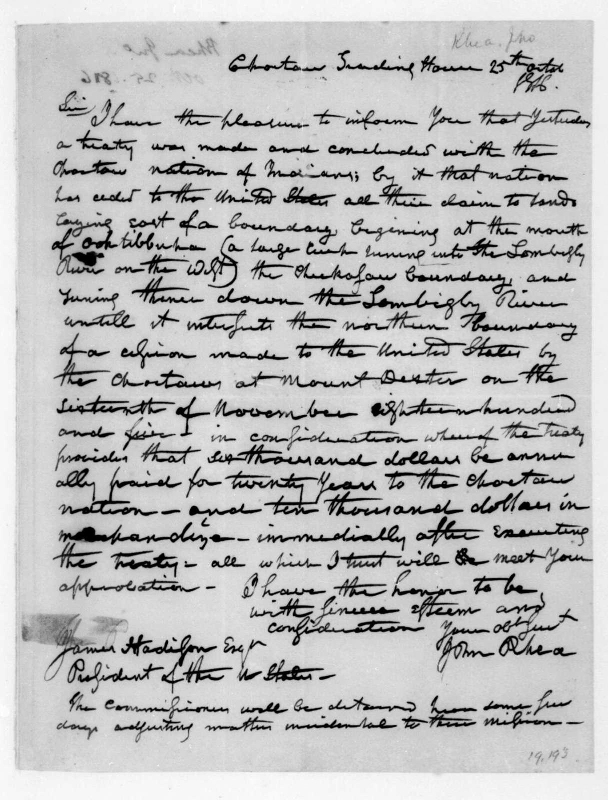 John Rhea to James Madison, October 25, 1816.