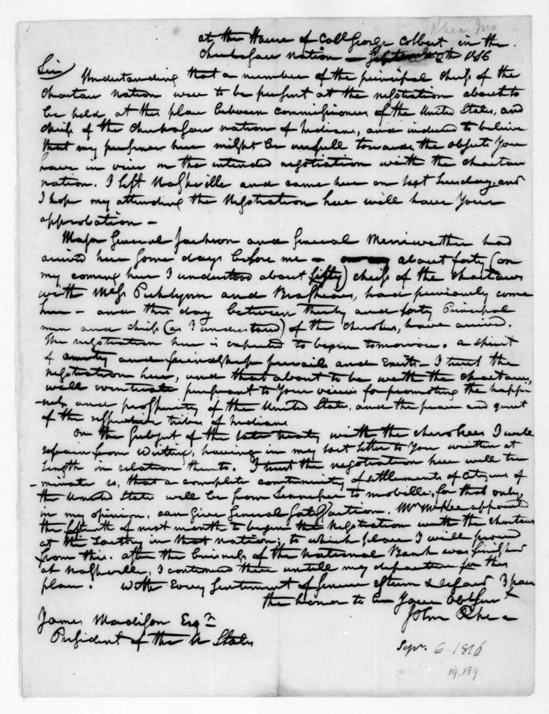 John Rhea to James Madison, September 6, 1816.