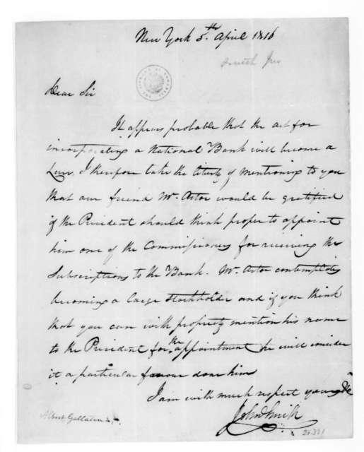 John Smith to Albert Gallatin, April 5, 1816.
