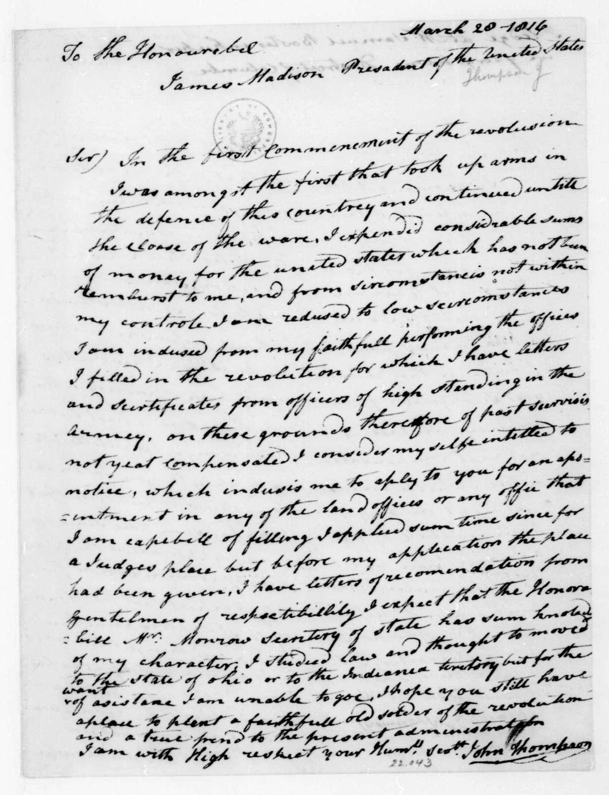 John Thompson to James Madison, March 28, 1816.