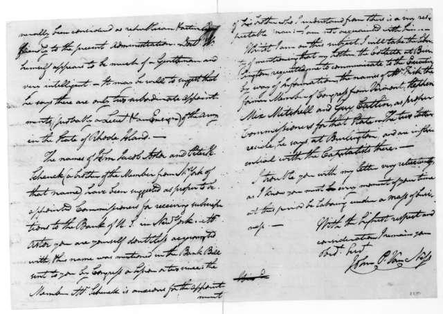 John Van Ness to James Madison, April 24, 1816.