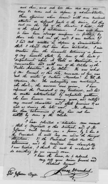 Jonas Humbert to Thomas Jefferson, August 18, 1816