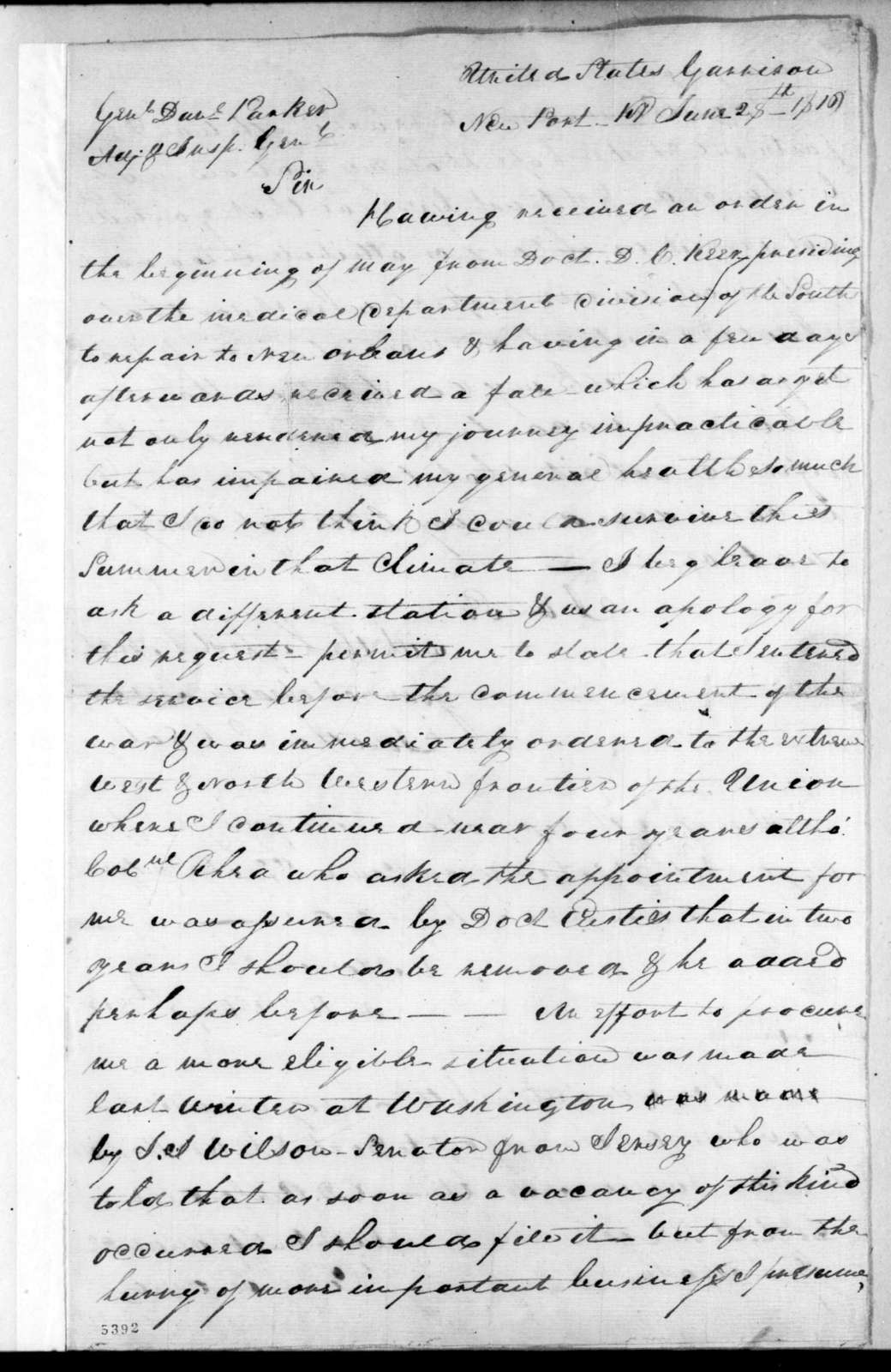 Jonathan S. Cool to Daniel Parker, June 28, 1816