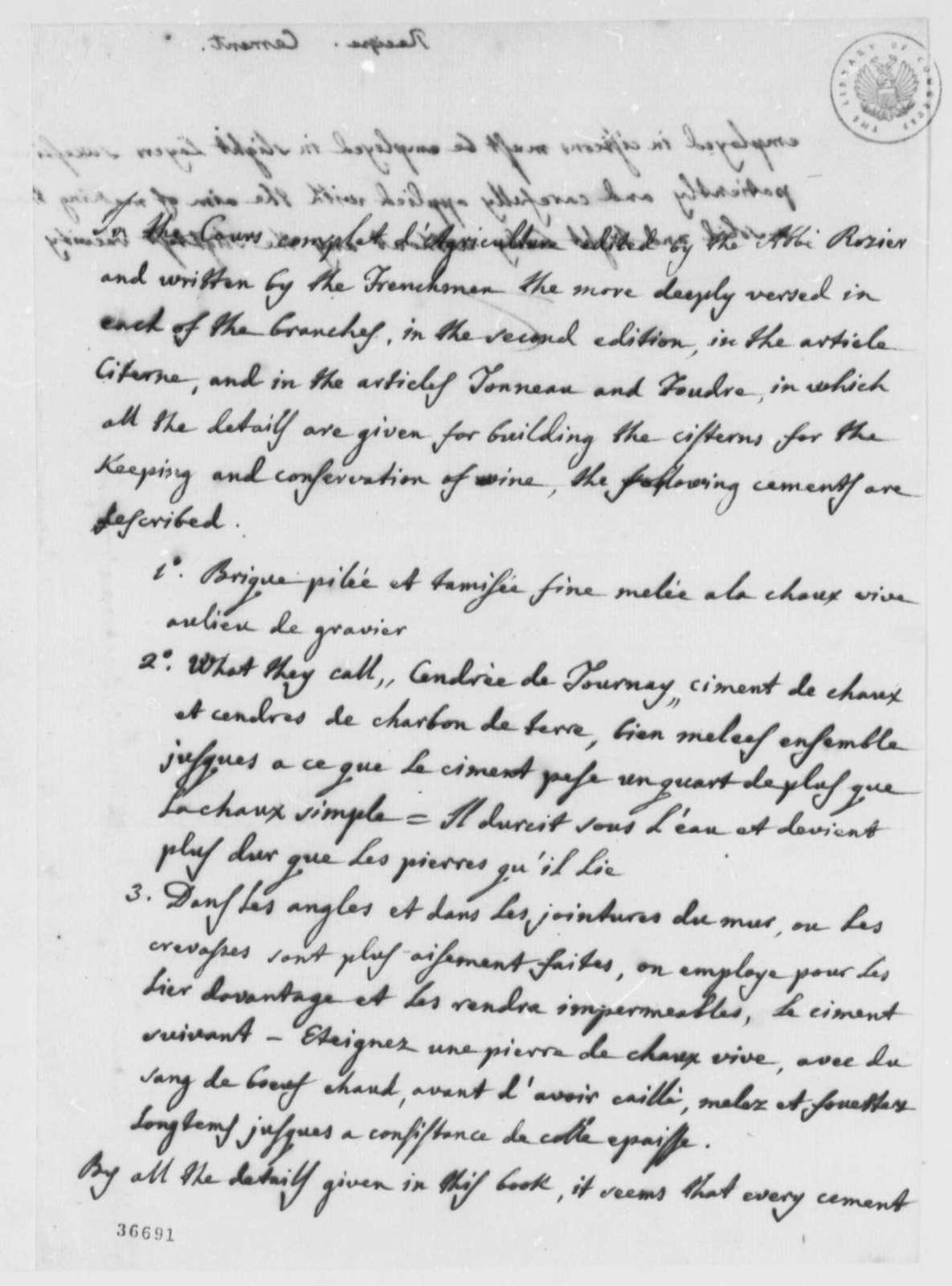 Jose Correa da Serra to Thomas Jefferson, February 12, 1816, and Cement Recipe in French