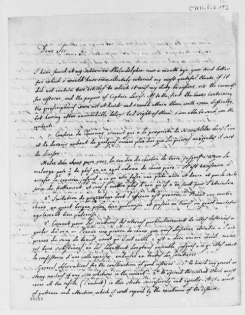 Jose Correa da Serra to Thomas Jefferson, February 12, 1816, and Cement Recipe in French